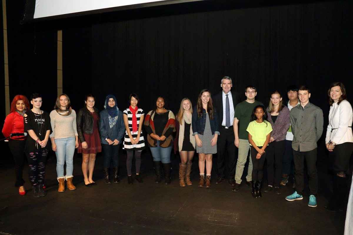 Group of young artists at Citadel High School for Human Rights Day and Awards