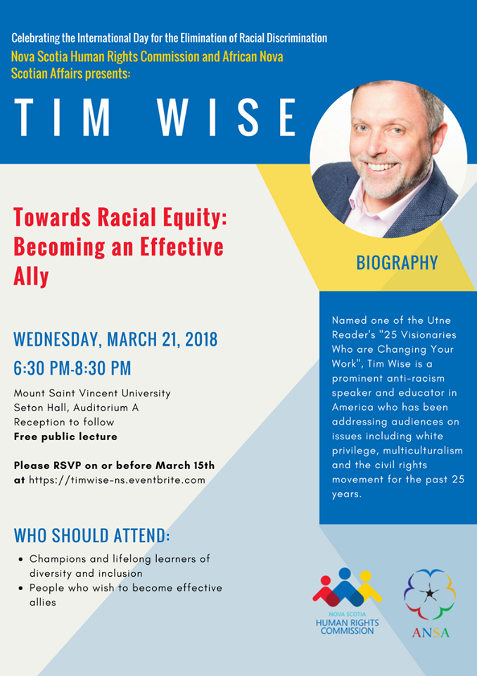 Towards Racial Equity: Becoming and Effective Ally Poster for Tim Wise Lecture