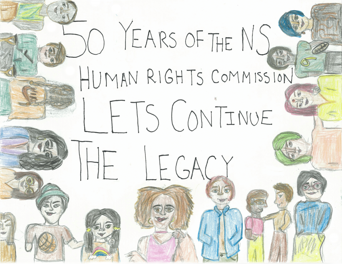 Drawing of many people different races, genders and sexual orientation being accepted in Nova Scotia, created by Emily Rafuse