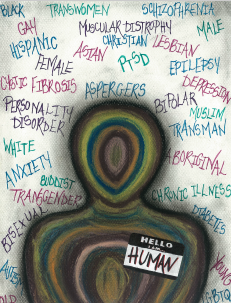 Words surrounding a faceless being with a Hello I am Human tag, created by Jillian Connors