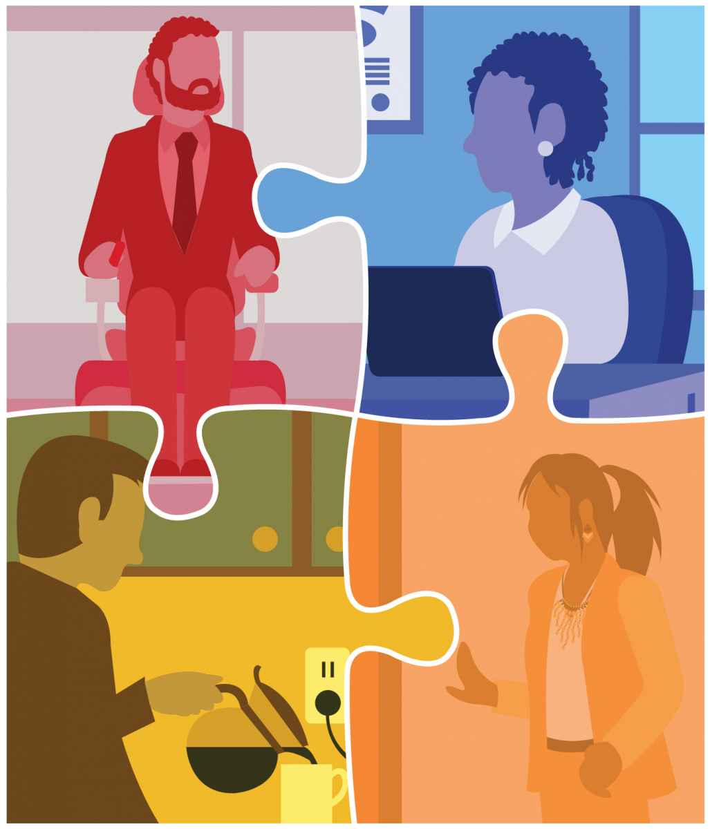 puzzle pieces graphic showing multiple individuals working in different environments