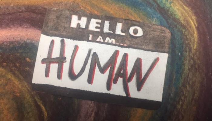 Hello I Am Human Name Tag Artwork by Jillian Connors