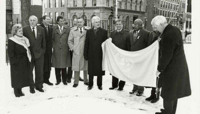 1967 Nova Scotia Human Commission standing in front of Nova Scotia Province House